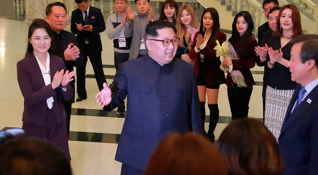 Big fan: North Korean leader Kim Jong Un speaks to musicians at a concert in Pyongyang