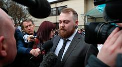 No joke: the Scottish 'comedian' speaks to the media outside Airdrie Sheriff Court where he was fined £800