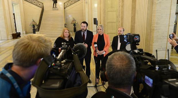 Decision time: NI party leaders Naomi Long, Colum Eastwood, Michelle O'Neill and Steven Agnew speaking on the joint statement they issued at Stormont yesterday on exiting the EU