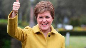 Thumbs up: SNP leader Nicola Sturgeon celebrated a fourth victory in the Scottish Parliament elections last week. Credit: Andrew Milligan/PA