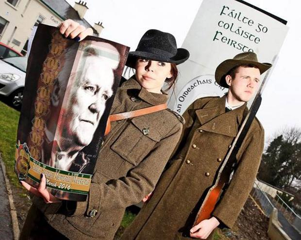 Colaiste Feirste pupils promote their play 1916