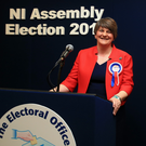 First Minister Arlene Foster (DUP) speaking at the Northern Ireland Assembly Election 2016 at Omagh Leisure Centre