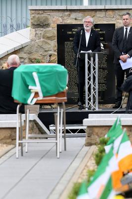 Gerry Adams speaking at the funeral of senior republican Bobby Storey last week