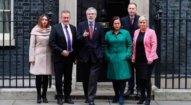 Gerry Adams and Sinn Fein colleagues after a visit to Downing Street last month