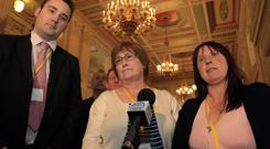 Kenny Donaldson of SEFF with Florence Graham and Serena Hamilton, who lost oved ones to terrorism in Co Fermanagh