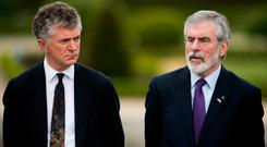 Jonathan Powell (left), former Downing Street Chief of Staff and chief British negotiator on Northern Ireland and Gerry Adams, former leader of Sinn Fein, at the summit in Cambo-les-Bains to certify the end of the terrorist group ETA as an organisation