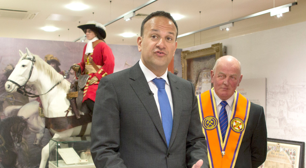 Taoiseach Leo Varadkar at Orange Order headquarters in Belfast last week
