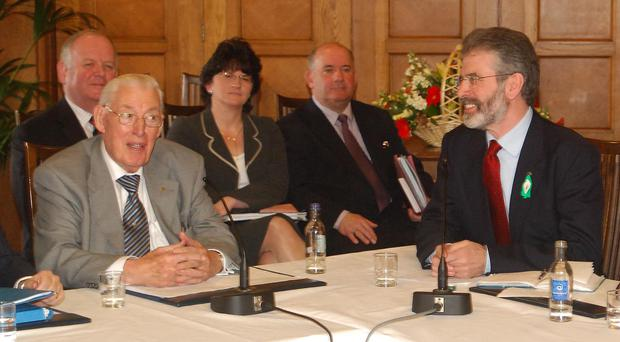 Ian Paisley and Gerry Adams after agreeing to share power at Stormont in 2007