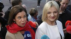 Mary Lou McDonald and (right) presidential candidate Liadh Ni Riada
