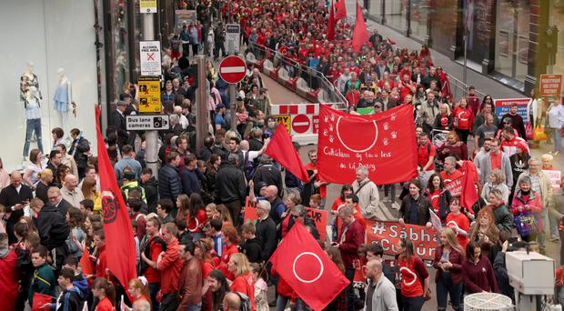 Campaigners on the streets of Belfast protesting for an Irish Language Act