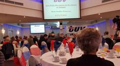 Ruth Dudley Edwards speaking at the TUV conference in Cookstown at the weekend