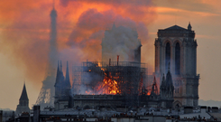 Flames and smoke rise from the blaze at Notre-Dame cathedral in Paris last week