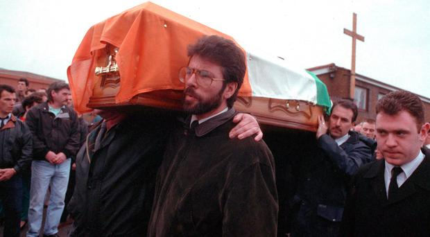 Gerry Adams carries the coffin of IRA man Frank Ryan who was killed with Patricia Black while they planted a bomb in St Albans in Hertfordshire in 1991