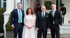 Taoiseach Leo Varadkar (left) and his partner Matt Barrett (right) with US Vice President Mike Pence and Mr Pence's sister Anne Pence during a visit to the US for St Patrick's Day