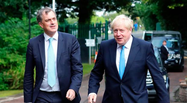 Secretary of State Julian Smith and Prime Minister Boris Johnson at Stormont last week