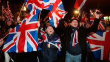People celebrating Brexit in London on Friday night
