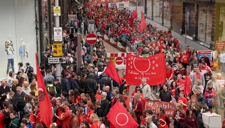 Campaigners show their support for the Irish language