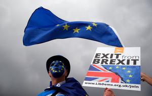 A campaigner at the Exit Brexit protest outside the Lib Dem conference in Bournemouth