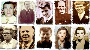 Victims: the 11 people who died in the Ballymurphy Massacre in west Belfast (from left, top row) Joseph Corr, Danny Taggart, Eddie Doherty, Father Hugh Mullen and Frank Quinn and , (from left, second row) Paddy McCarthy, John McKerr, Noel Philips, John Laverty and Joseph Murphy