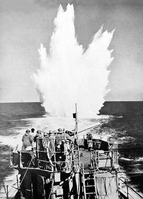 Sailors drop depth charges during the Battle of the Atlantic