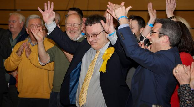 Stephen Farry of the Alliance Party celebrating at the North Down count