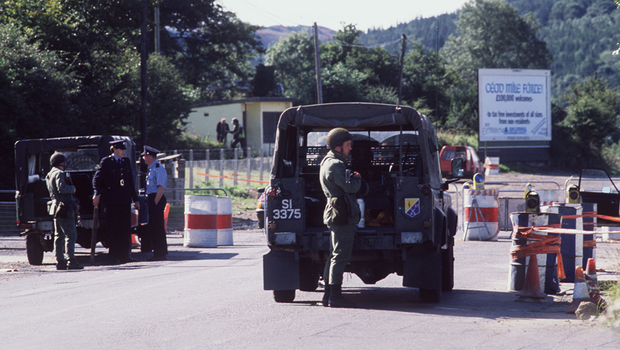 Irish Army personnel guarding the border customs post at Kileen in 1988