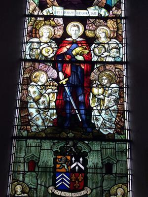 A stained-glass window in St Multose Church commemorating Gallipoli victims