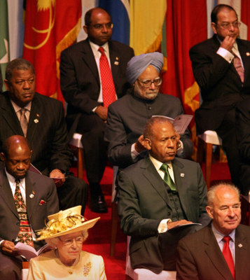 The Queen and other leaders at the 2007 Commonwealth Heads of Government meeting in Uganda