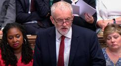 Labour's Jeremy Corbyn responds to Boris Johnson in the House of Commons yesterday