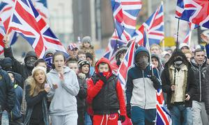 Young protesters make their voices felt during the flag protests at Belfast City Hall