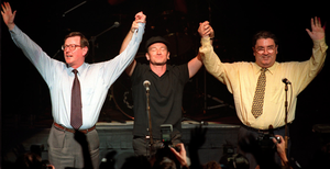 UUP leader David Trimble and SDLP chief John Hume with U2 frontman Bono at a 1998 concert in Belfast to promote Good Friday Agreement