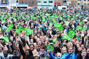 Crowds gather for the St Patrick's Day parade in Belfast