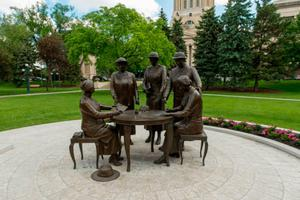 The 'famous five' statue that includes Nellie McClung in Winnipeg