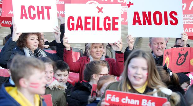 Language barrier: Irish Language Act supporters protest outside Stormont