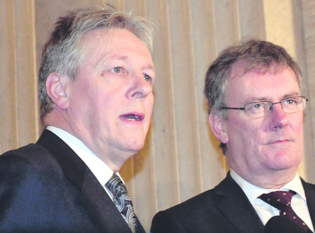 First Minister and DUP leader Peter Robinson with Ulster Unionist leader Mike Nesbitt
