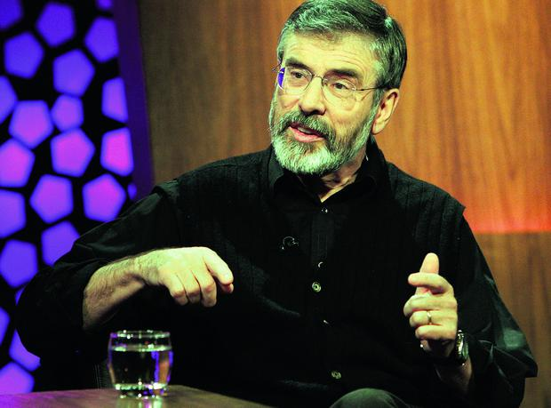 Denials: Gerry Adams is as evasive about his past relationship with the IRA as he is about the disappearance of Charlie Armstrong