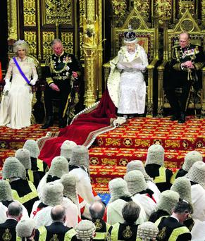 Royal date: the Queen, Prince Philip, Prince Charles and the Duchess of Cornwall in parliament