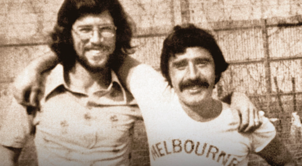 Gerry Adams and Brendan Hughes in Long Kesh. Hughes gave an interview to Boston College.