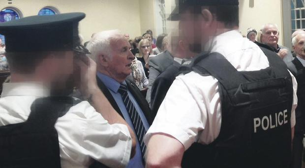 Order of service: Police were required to restore calm in Ballynahinch at the weekend