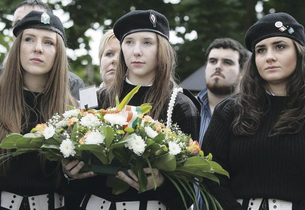 Girls at the commemoration parade in Castlederg last month to remember IRA members who died during the Troubles