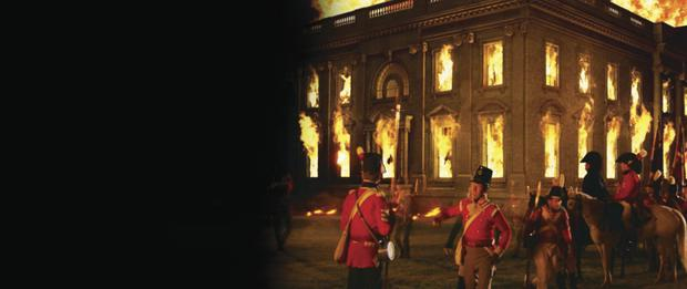 Under fire: The White House in Washington DC in flames after the attack by British army
