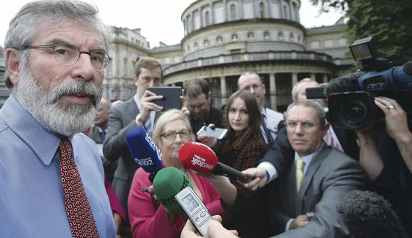 Sinn Fein president Gerry Adams has again denied allegations he was responsible for ordering the killing of Jean McConville. Pictured speaking to media at Leinster House, Dublin last month