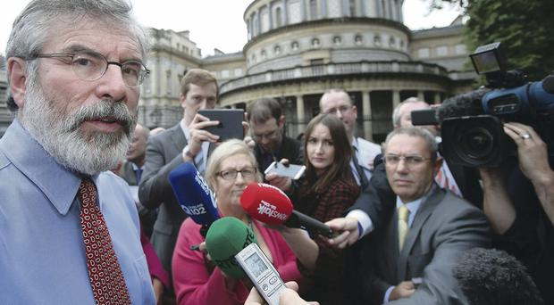 Sinn Fein Leader Gerry Adams speaking to the media at Leinster House