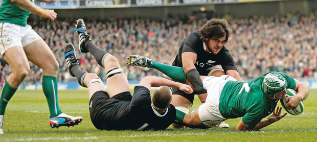 Power play: Rory Best goes over for a try at the Aviva Stadium yesterday; and Casement, and Ravenhill, both of which would cash in on the tournament