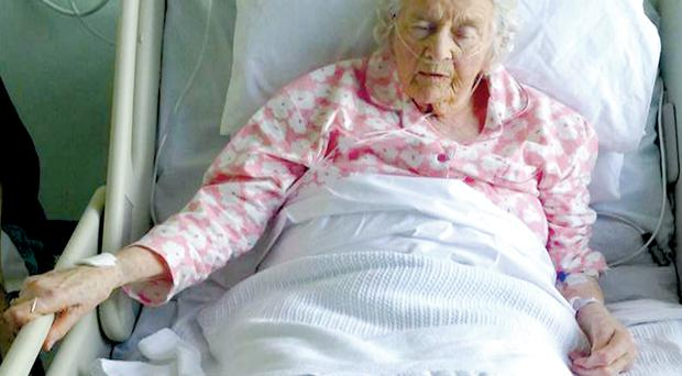 Health divide: Pensioner Mary Anne Hood (98) in Ulster Hospital