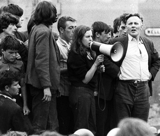 Queen's student Bernadette Devlin addresses crowds in the Bogside in 1969