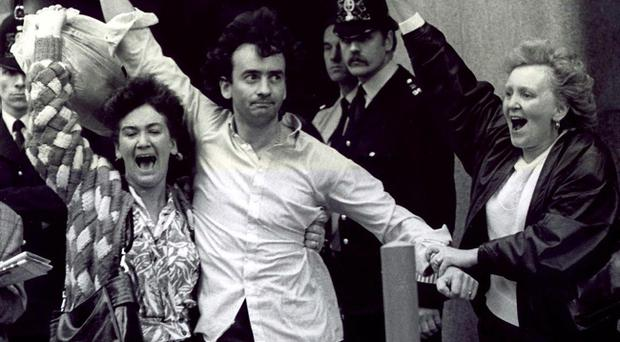 Gerry walks out of the Old Bailey in London in 1989 after his conviction was finally quashed