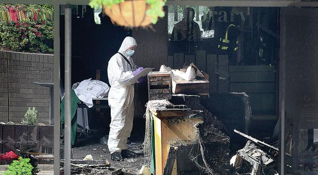 The aftermath of a fire bomb attack on the Everglades Hotel in Londonderry earlier this year