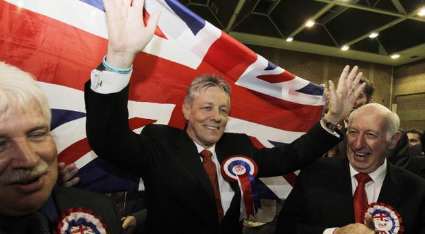 DUP leader Peter Robinson celebrates his re-election as an MLA for East Belfast in 2011