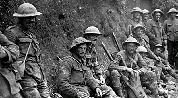 Men of the 36th Ulster Division during the bloody Battle of the Somme in 1916